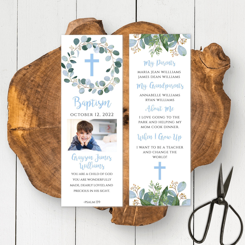 Boy baptism bookmark with photo blue greenery milestone