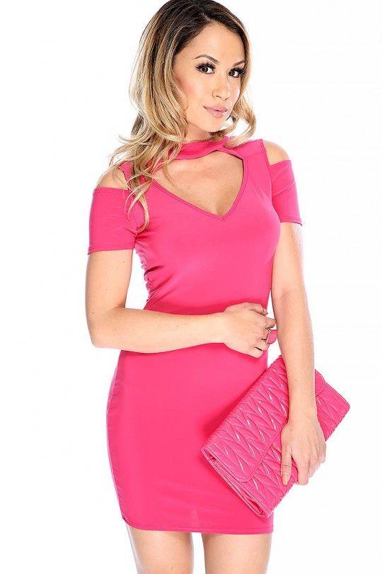Sexy Fuschia Short Sleeve Shoulder Cut OUt V-Cut Party Dress   Short ...