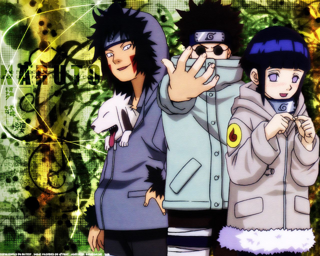 Team 8. Kiba & Akamaru(TheDog), Shino, and Hinata.. And ...