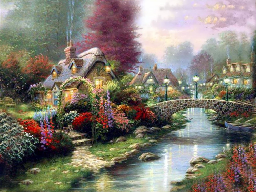 Crilu Village Town Village1 Thomas Kinkade Art Kinkade Paintings Thomas Kinkade Paintings