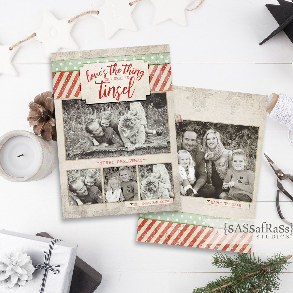 TinselChristmas Card Template for Adobe