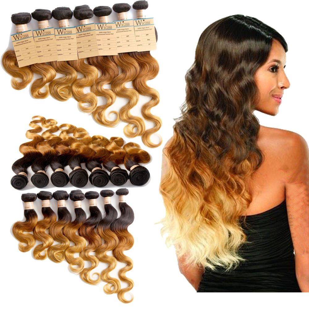 Brazilian Ombre Hair Extensions Body Wave 1pc Ombre Human Hair Weave