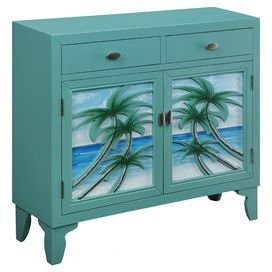 Wood Cabinet With 2 Drawers And Palm Tree Liques Product Chestconstruction Material Woodcolor