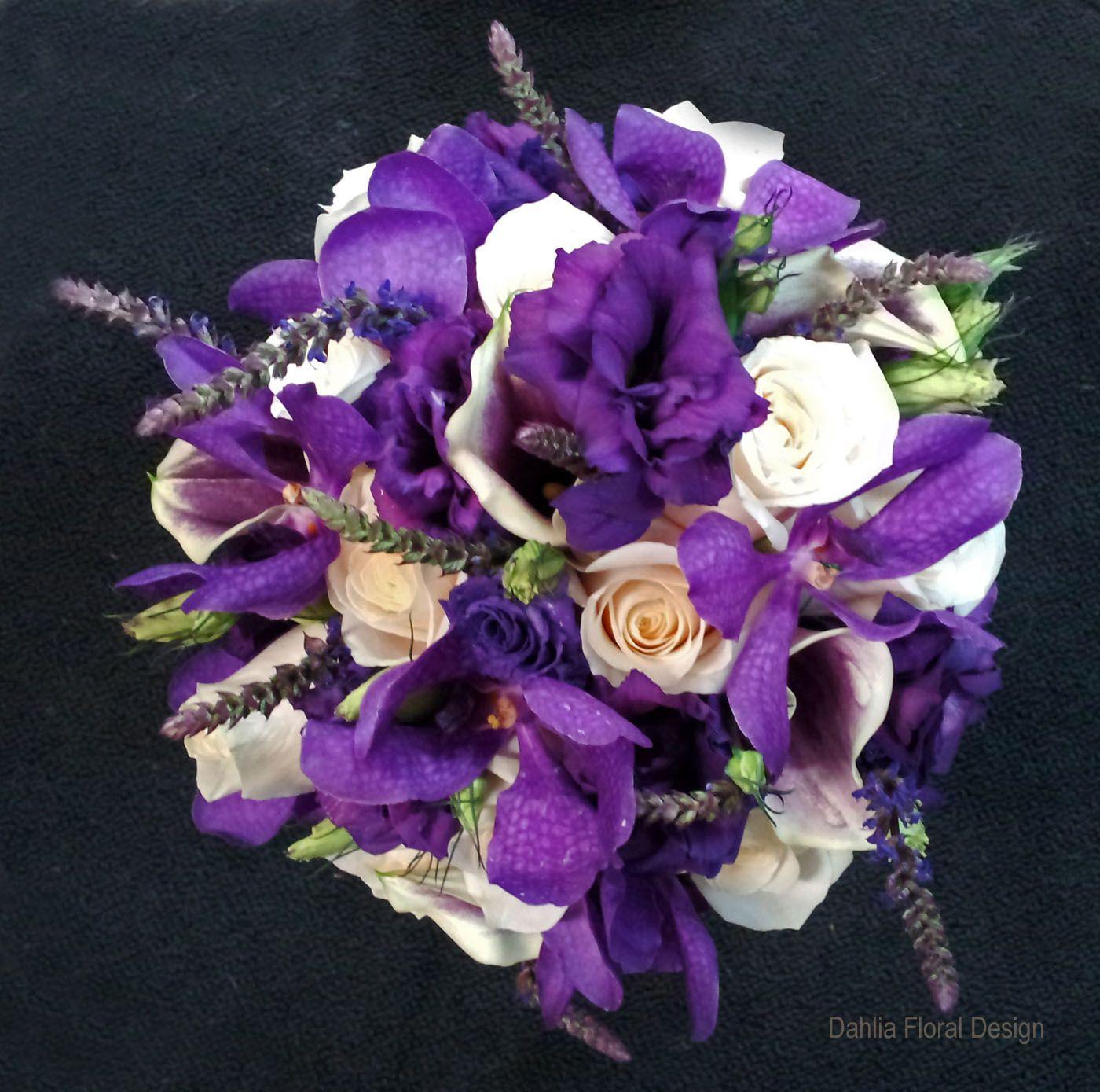 Outdoor Wedding Ceremony Calgary: Purple Cream Ivory Handtied