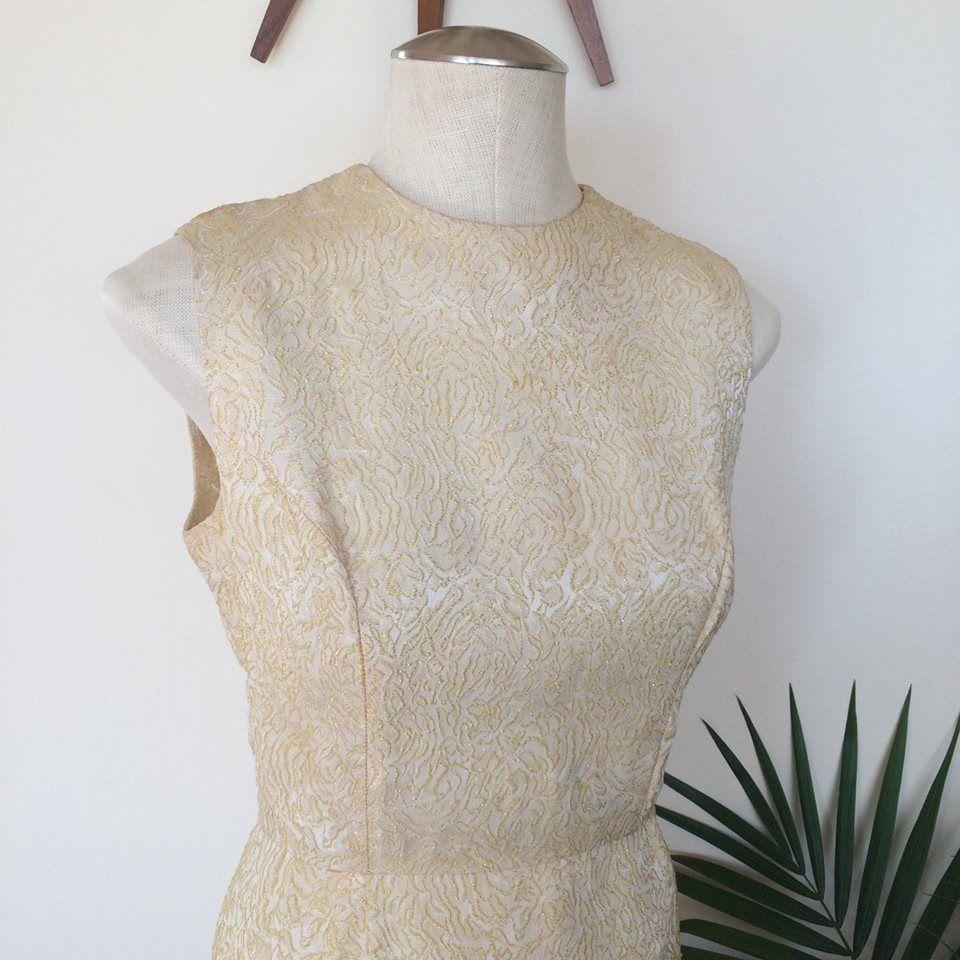 Vintage gold brocade cocktail dress by mz jones boudoir mz jones