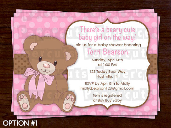 Printable Diy Pink And Brown Teddy Bear Theme Personalized Baby Shower Invitation Digital File
