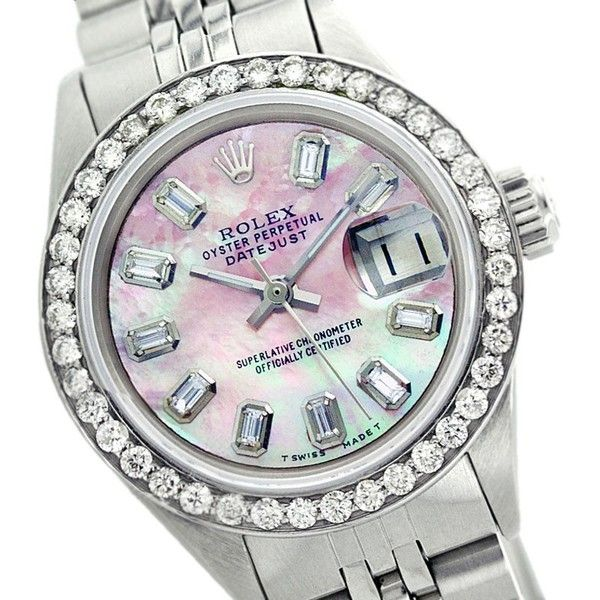Pre-owned Rolex Datejust 69174 26mm Mother Of Pearl Diamond Baguette... ($4,439) ❤ liked on Polyvore