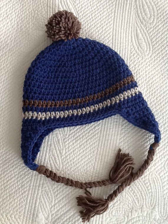 f781ee192ff Adorable crochet baby hat with earflaps in navy blue with brown and gray  stripes
