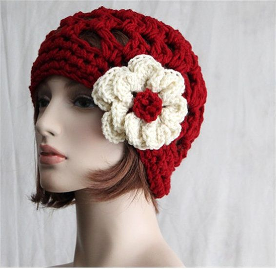 Womens Red Hat Flower hat All Seasons Hat di endlesscreation