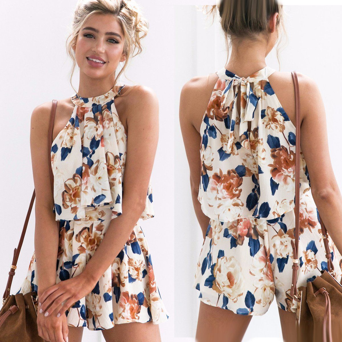 b2c35929387 Summer Womens Party Club Playsuit Rompers Beach Sun Dress Casual Jumpsuit  Shorts