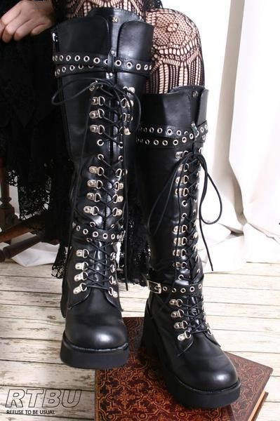 70365d28844 I found  Handmade Japan Gothic Visual Kei Punk Industrial Metal D-Ring  Vegan Knee hi Boot  on Wish