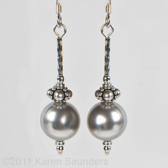 Swarovski light grey pearl & decorative sterling silver bead earrings #EasyPin