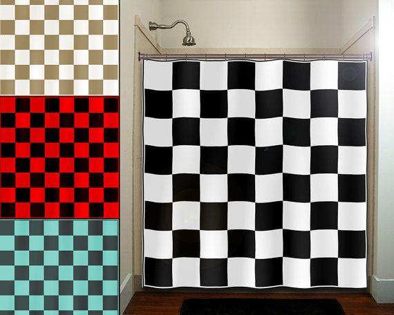 Checkered Car Racing Flag Chess Board Shower Curtain Extra Etsy Kid Bathroom Decor Fabric Shower Curtains Curtains