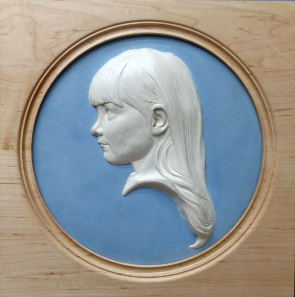 Coloured earthenware in a turned frame Interior, Indoors, Inside #sculpture by #sculptor Tristan MacDougall titled: 'Bas-relief Portrait of a Child (Bust Head Face Relief Child Portrait)' #art