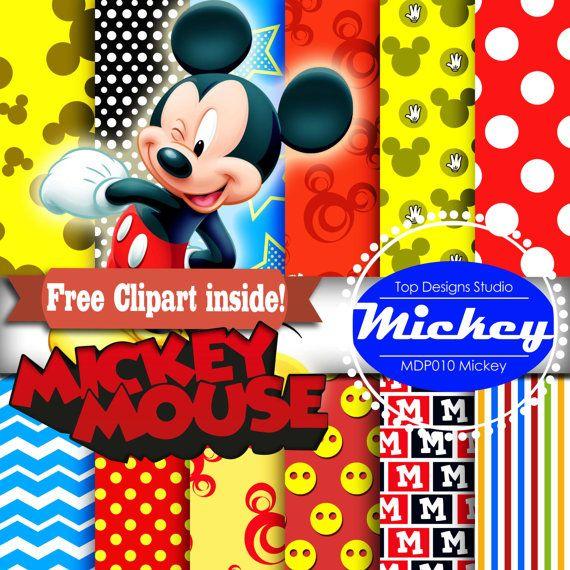 12 X DIGITAL MICKEY Mickey Mouse Scrapbooking Por