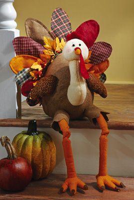 Turkey Figurine Pilgrim Boy Turkey Centerpiece Harvest Fall Thanksgiving Decor