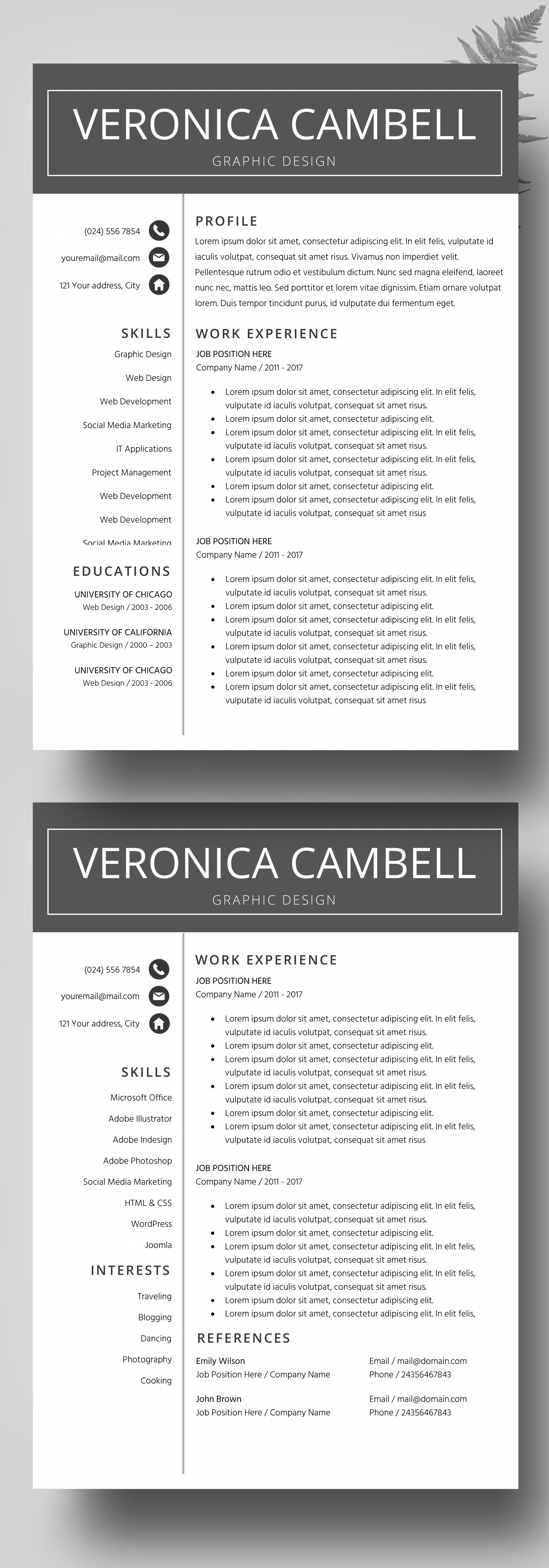 Professional Resume Template for Word and Pages CV