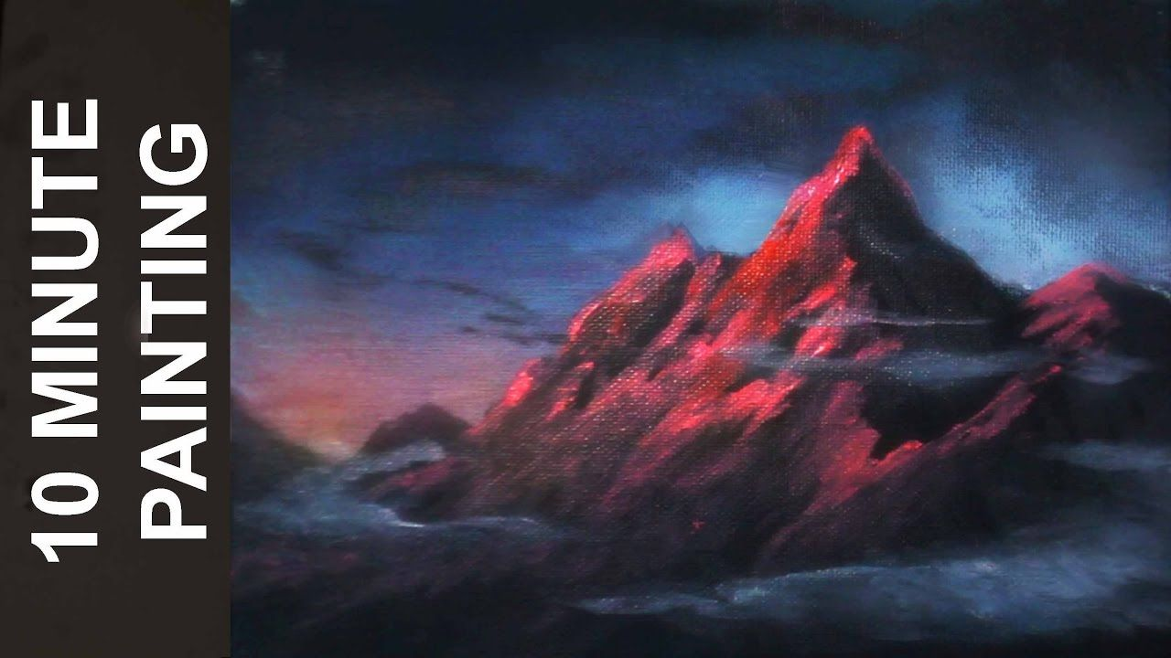 Painting a Mountain During Twilight with Acrylics in 10 Minutes