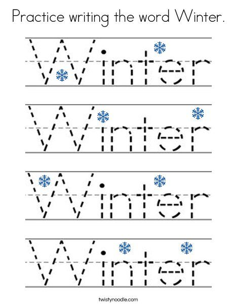 Practice writing the word Winter Coloring Page - Twisty ...