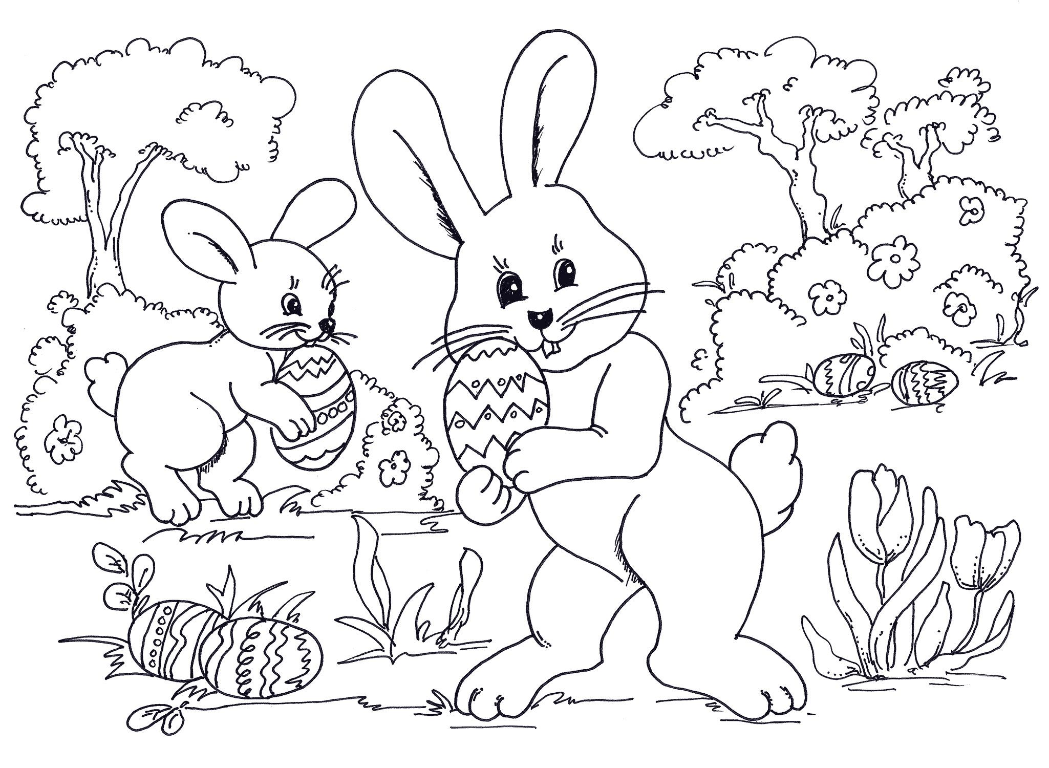 easter coloring sheets egg hunting bunnies wallpaper hd