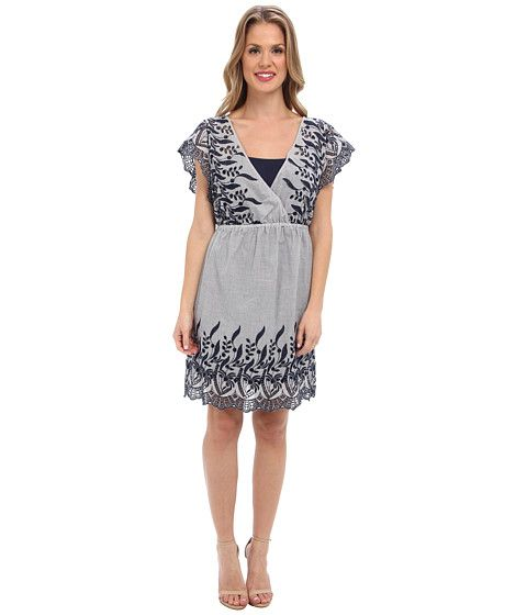 Two By Vince Camuto Womens Cotton Striping Emb. Dress Blue Night - Dresses