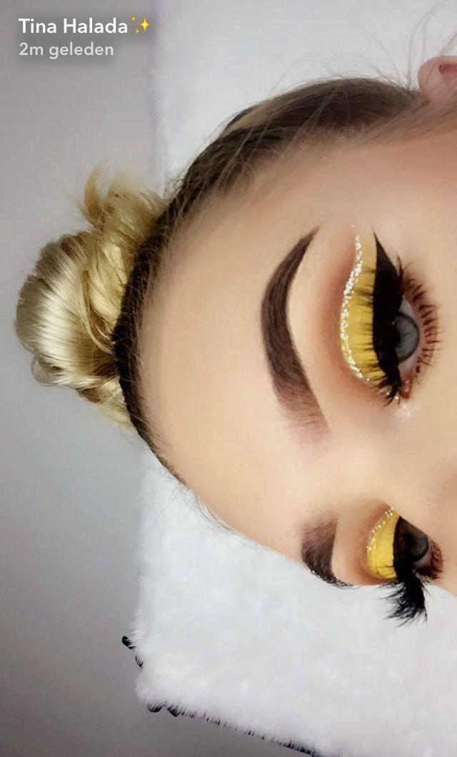 Photo of Adorable yellow and brown makeup. #yellow #brown #makeup #