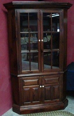Vintage Pine Dark Walnut Finish Corner Cupboard Ethan