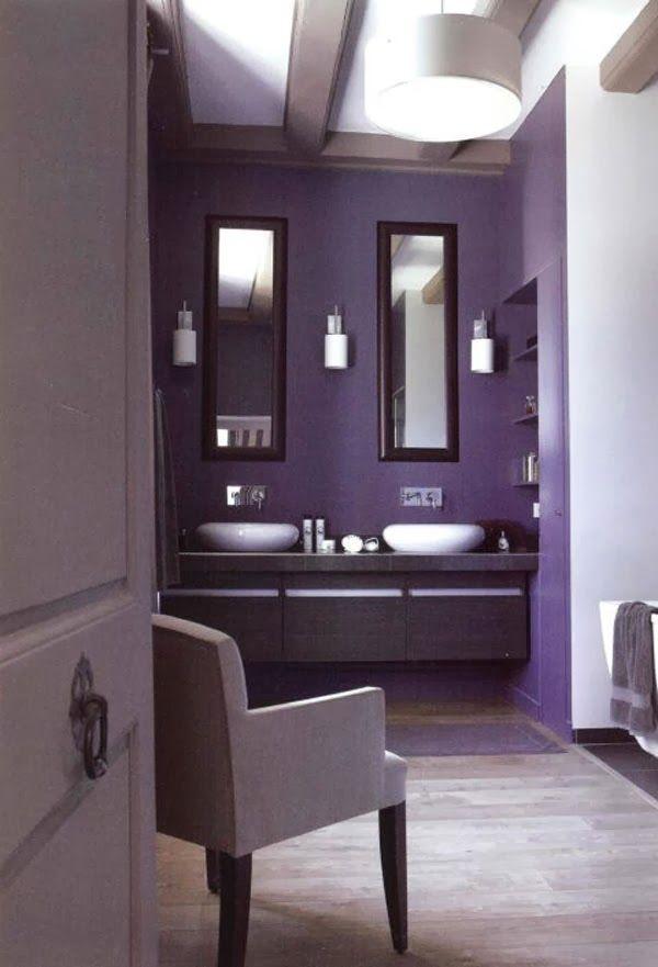 baño con paredes moradas lila Diseño Pinterest Lilas, Baño y Malva