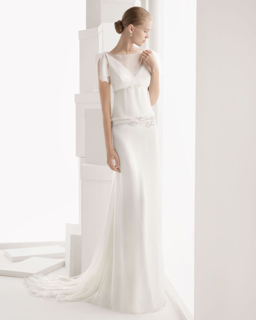 glamorous aline with short sleeves chiffon wedding dress
