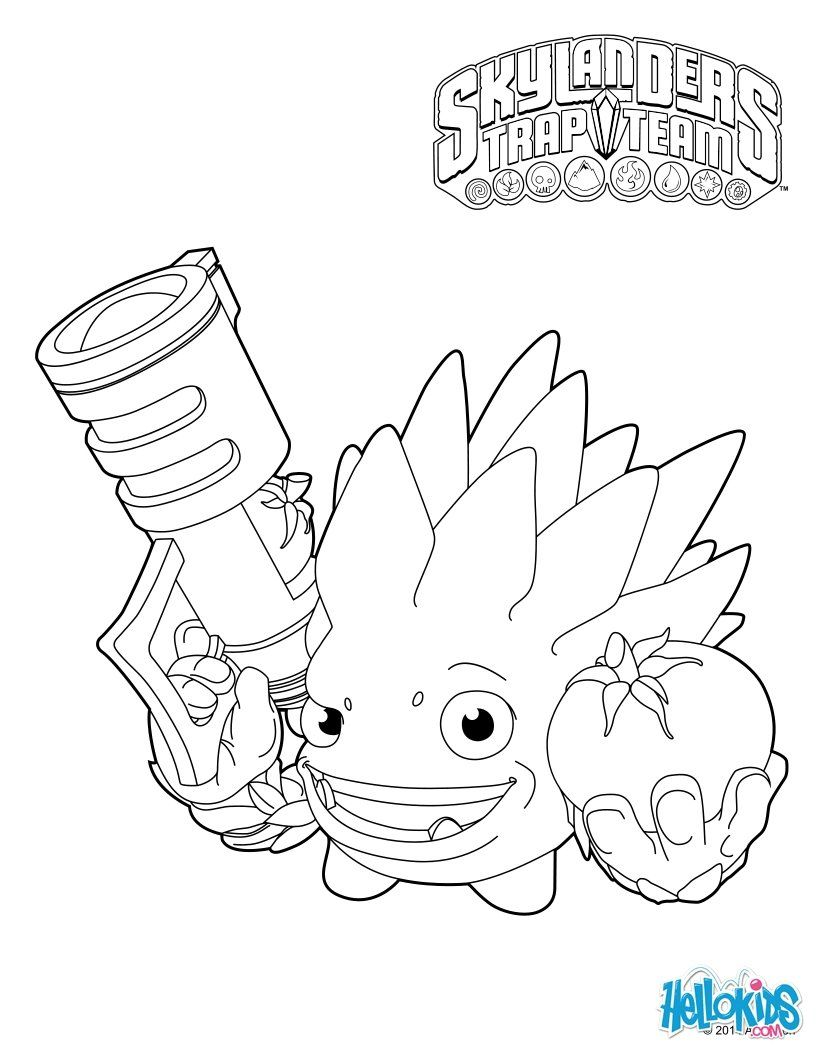 Skylanders Trap Team Coloring Pages Food Fight Dragon Coloring