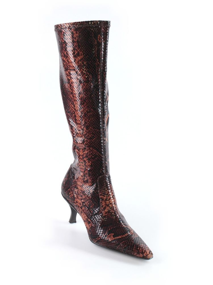 Women Arturo Chiang Brown Black Faux Snakeskin Stretch Boots Heel Size 7.5  M #ArturoChiang #