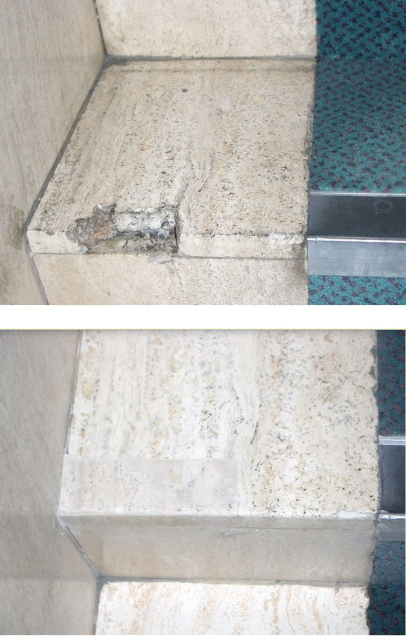 A Travertine Limestone Step Repaired Using A Matching Piece Of