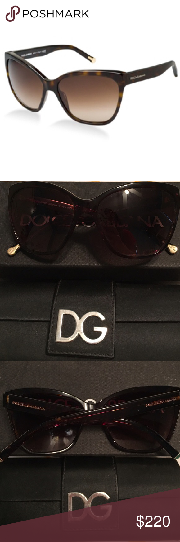 Dolce & Gabbana Brown Sunglasses Rarely worn. Brown sunglasses. Great condition. Comes with box, case, and certificate of authenticity. Full rim frame. Rectangular shape. Color: Havana Frame: Brown Gradient Dolce & Gabbana Accessories Sunglasses