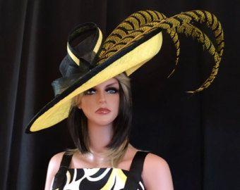 c759069fcf0 Yellow kentucky derby hat. Derby Hat. Formal hat. Del Mar