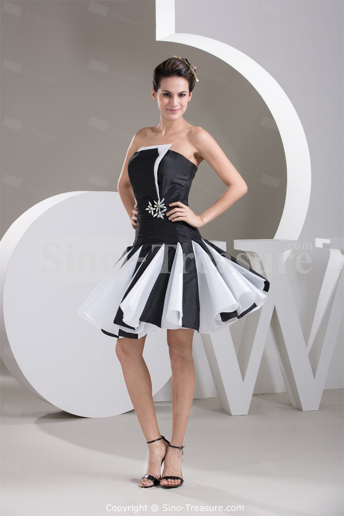 black-and-white-dresses-cocktail-black-white-strapless-a-line ...