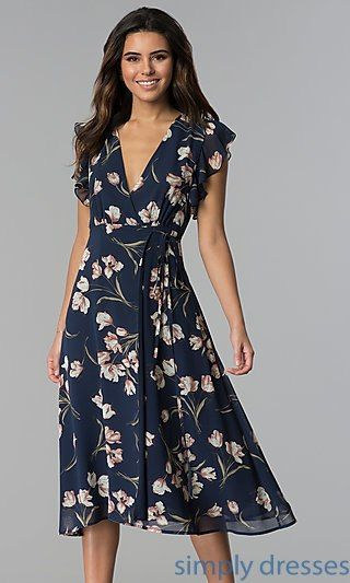 06cc3abab7a44 Navy Floral-Print Wedding Guest Knee-Length Dress in 2019 | Mother ...