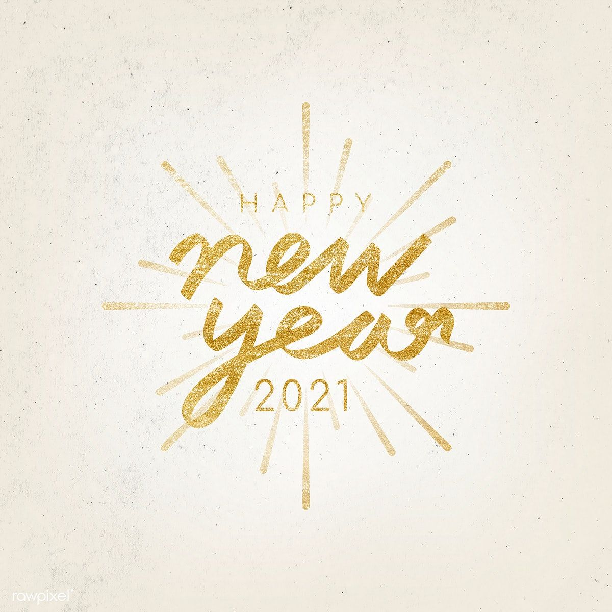Happy New Year 2021 typography illustration free image