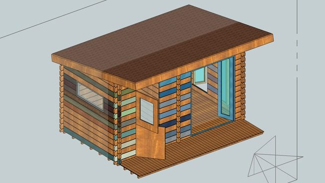 Large Preview Of 3d Model Of Pent Roof Design Shed Summerhouse Roof Design Diy Roofing Metal Roof