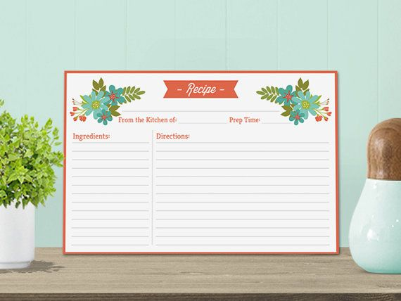 Cute Printable Recipe Card Template with pretty flowers ...