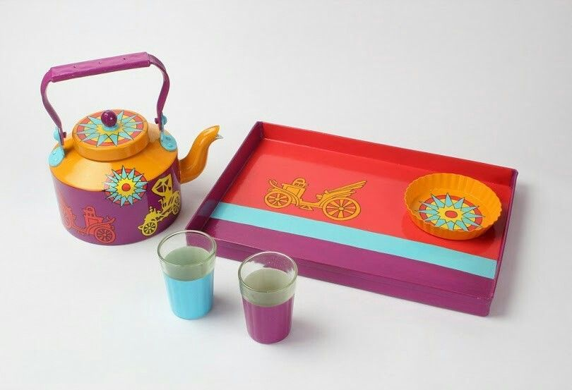 A Krazy Mug: Hand painted Tray Set (Kettle , two glasses, Tray ,Cookie Plate) - Museum Ki Sawari  #Handpainted #homedecor #Trayset #Kettle #Glasses#Cookie #Plate #Tray