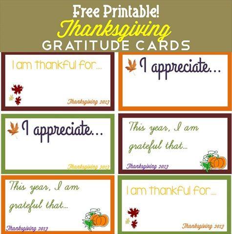 free printable thanksgiving gratitude cards thanksgiving printables