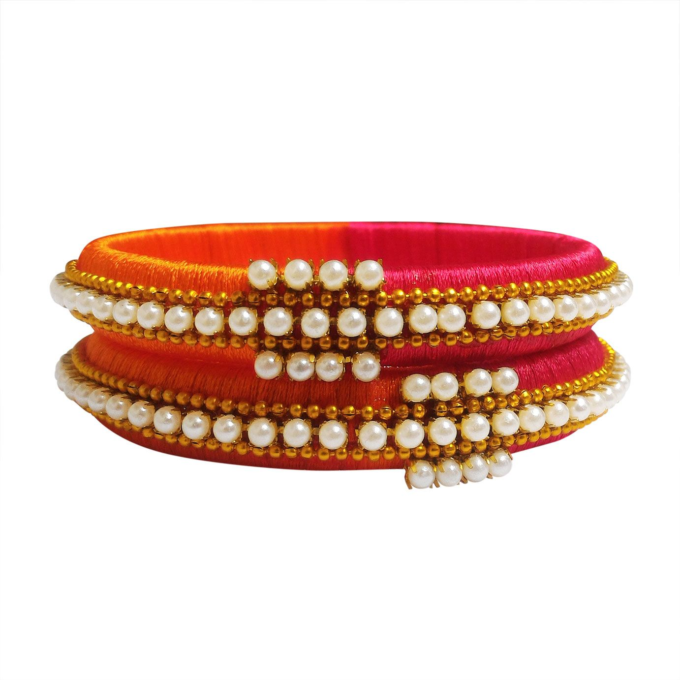 9b1dbbb728761 This lovely set of bangles has Orange & Red colored silk thread with ...