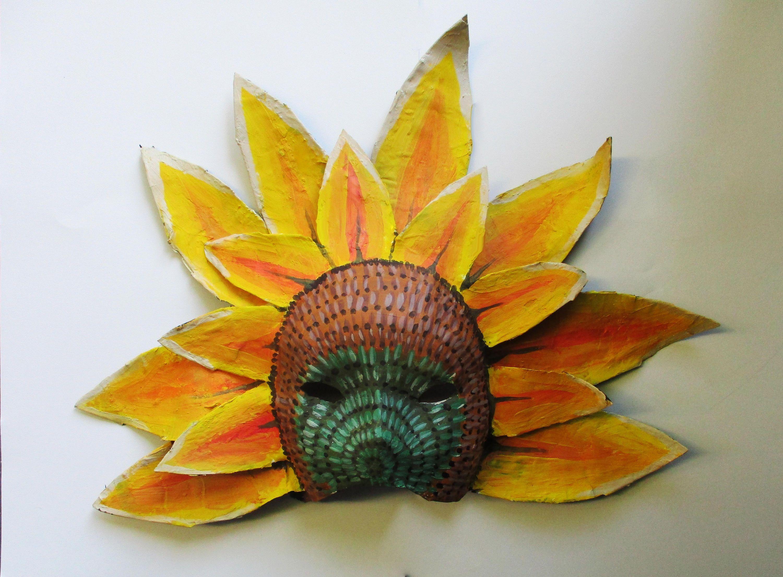 Sunflower Mask Sunflower Flower Paper Mache Wearable Costume