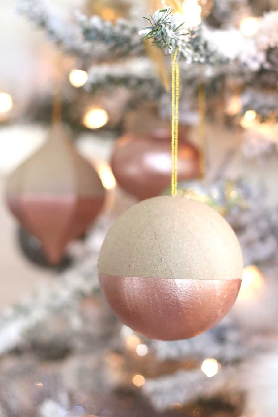 DIY Rose Gold Dipped Ornaments   Rose gold christmas tree ...