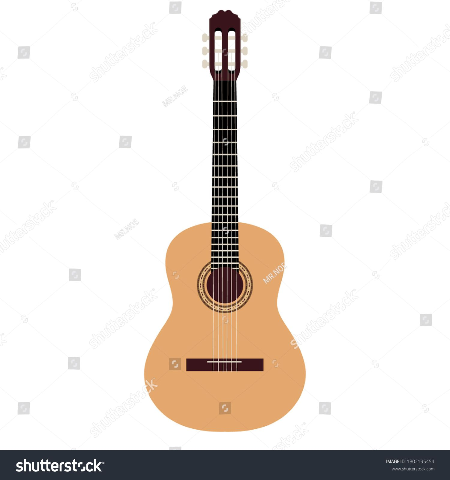 Acoustic Guitar On White Background Vector Illustration Ad Sponsored White Guitar Acoustic Illustration In 2020 White Background Guitar Acoustic