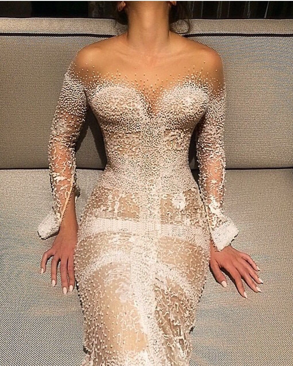 Wedding Dress: J\'aton Couture | Swarovski studded pearl sheath ...