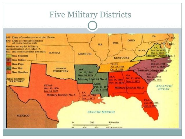 Military Districts During The Reconstruction Era Chapter 12 - Us-map-civil-war-era