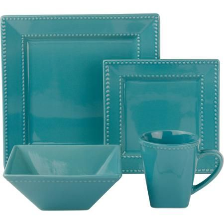 10 Strawberry Street Nova Beaded Square 16-Piece Dinnerware Set - Walmart.com  sc 1 st  Pinterest : walmartcom dinnerware - pezcame.com