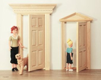 Dollhouse Wood Door, Wooden Doll Houses Furnitures, Gift Idea For Daughter,  Fairy Doors