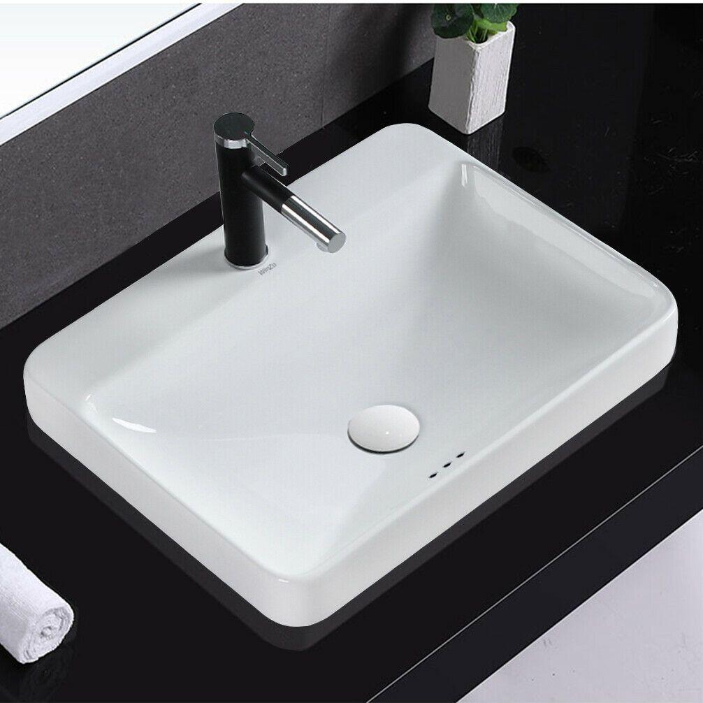 Winzo Wz6123 Modern Semi Recessed Bathroom Vessel Sink With Single Faucet Hole In 2020 Vessel Sink Bathroom Sink Vessel Sink